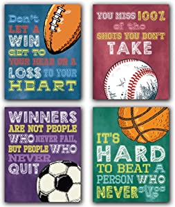 """Colorful Sport Themed Art Print, Basketball Football Baseball Inspirational Quote Art Print, Set of 4 (8""""X10"""",Unframed) Exercise Motivational Words Canvas Wall Painting For Boy Bedroom,Playroom Decor"""