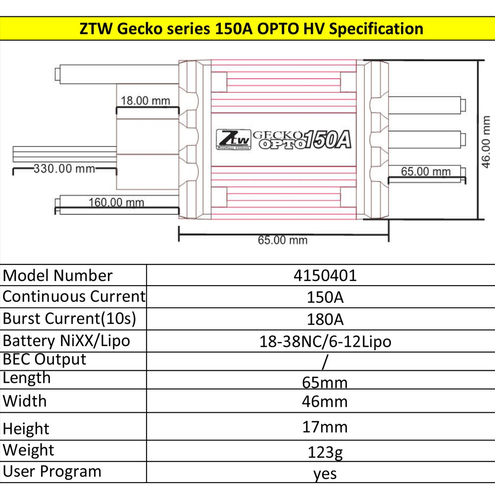 Ztw Gecko 150a Opto Hv 6 12s Lipo Esc For The Fixed Wiring Diagram 3 5 Mm Headphone Jack G540 Weing Big Airplane And Helicopter Toys Games