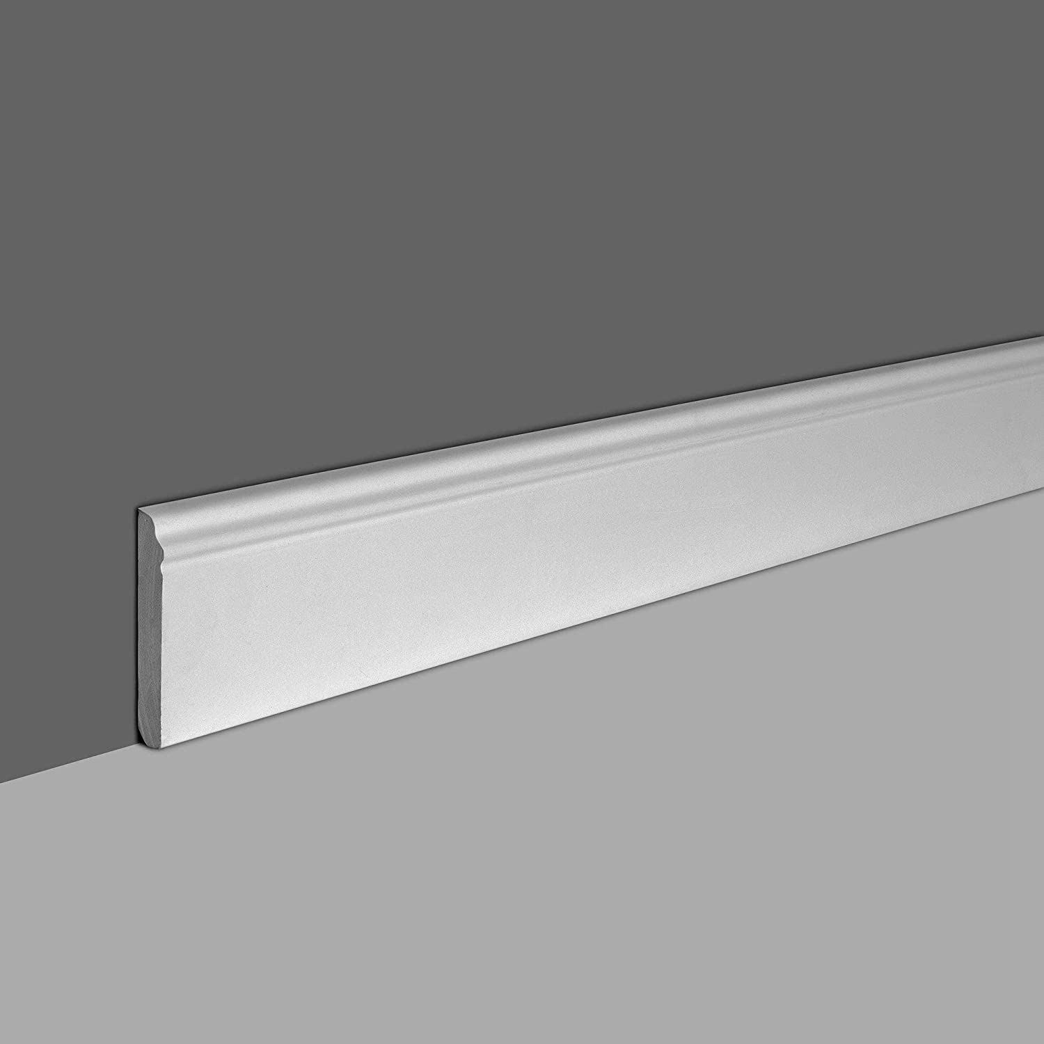 Designers Edge Millwork 4 High x 1//2Projection Primed White Polyurethane Baseboard Moulding 94-1//2 Inch Length Pack of 2