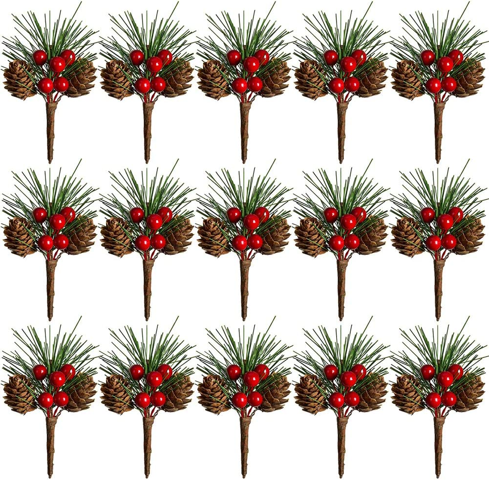 15 Pack TOUTN Christmas Tree Decoration Pine Cone Red Berry Picks 3 Inch Stems Artificial Holly Branches for Xmas Crafts Party Home Decor