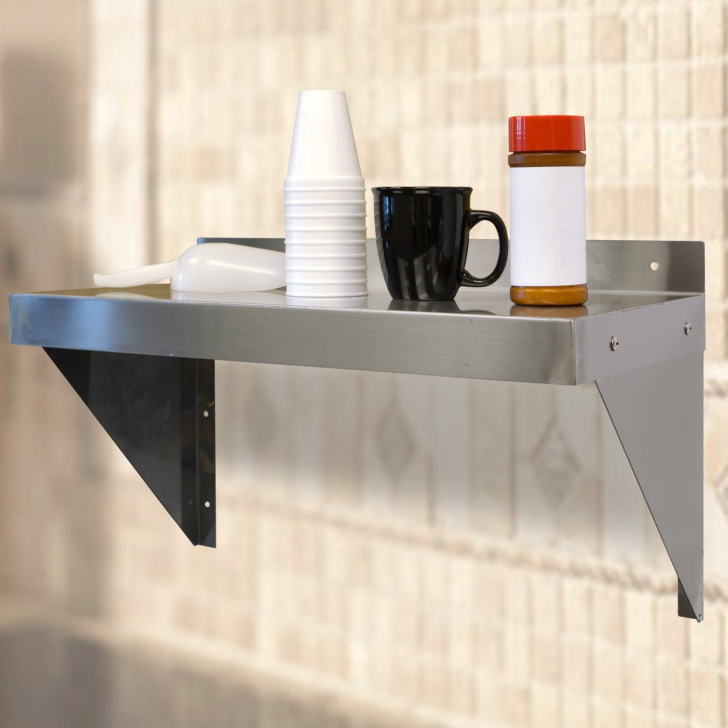Offex 24'' Brushed Stainless Steel Finish Work Shelf - Silver by offex (Image #2)