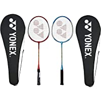 Yonex GR 303 Aluminum Blend Badminton Racquet with Full Cover, Set of 2 (Red/Blue)