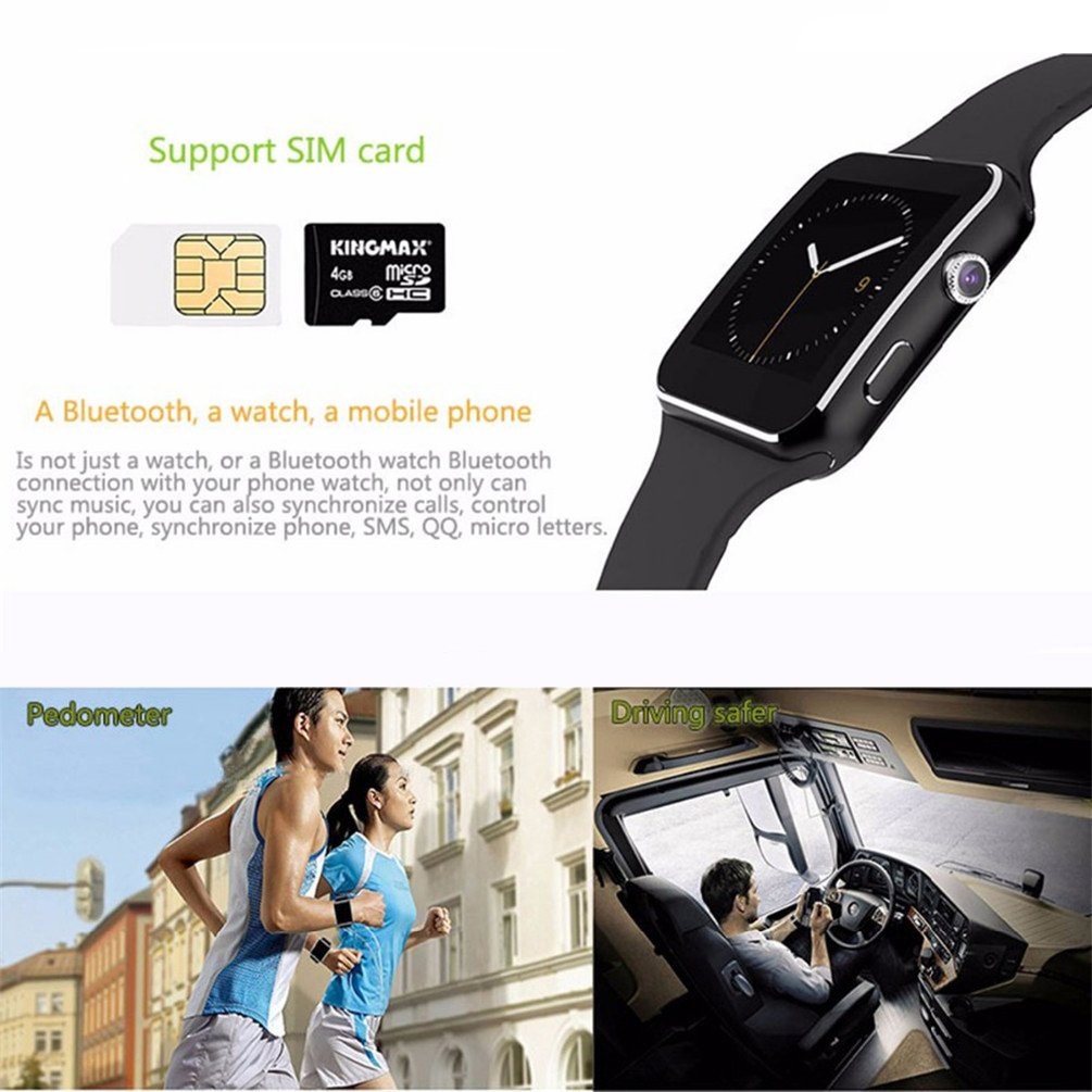Bluetooth Smartwatch, IOQSOF Smart Wrist Watches for Android iOS iPhone Samsung Huawei Sony Sleep Tracker Support Micro SIM Card,Men Women Kids Boys Curved Screen Smartphones