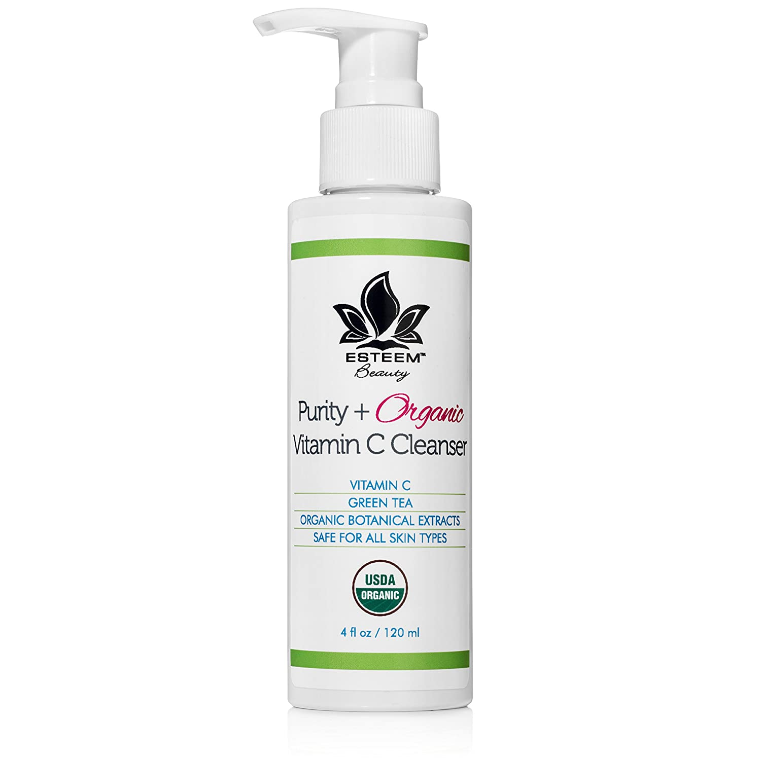 Purity + Organic Vitamin C Face Wash - Anti Aging Facial Cleanser   Green Tea   Aloe Vera   Lemon Peel Oil   Sulfate Free   Paraben Free   18 Essential Oils & Botanical Extracts
