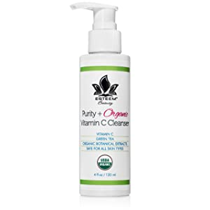 Purity + Organic Vitamin C Face Wash - Anti Aging Facial Cleanser | Green Tea | Aloe Vera | Lemon Peel Oil | Sulfate Free | Paraben Free | 18 Essential Oils & Botanical Extracts