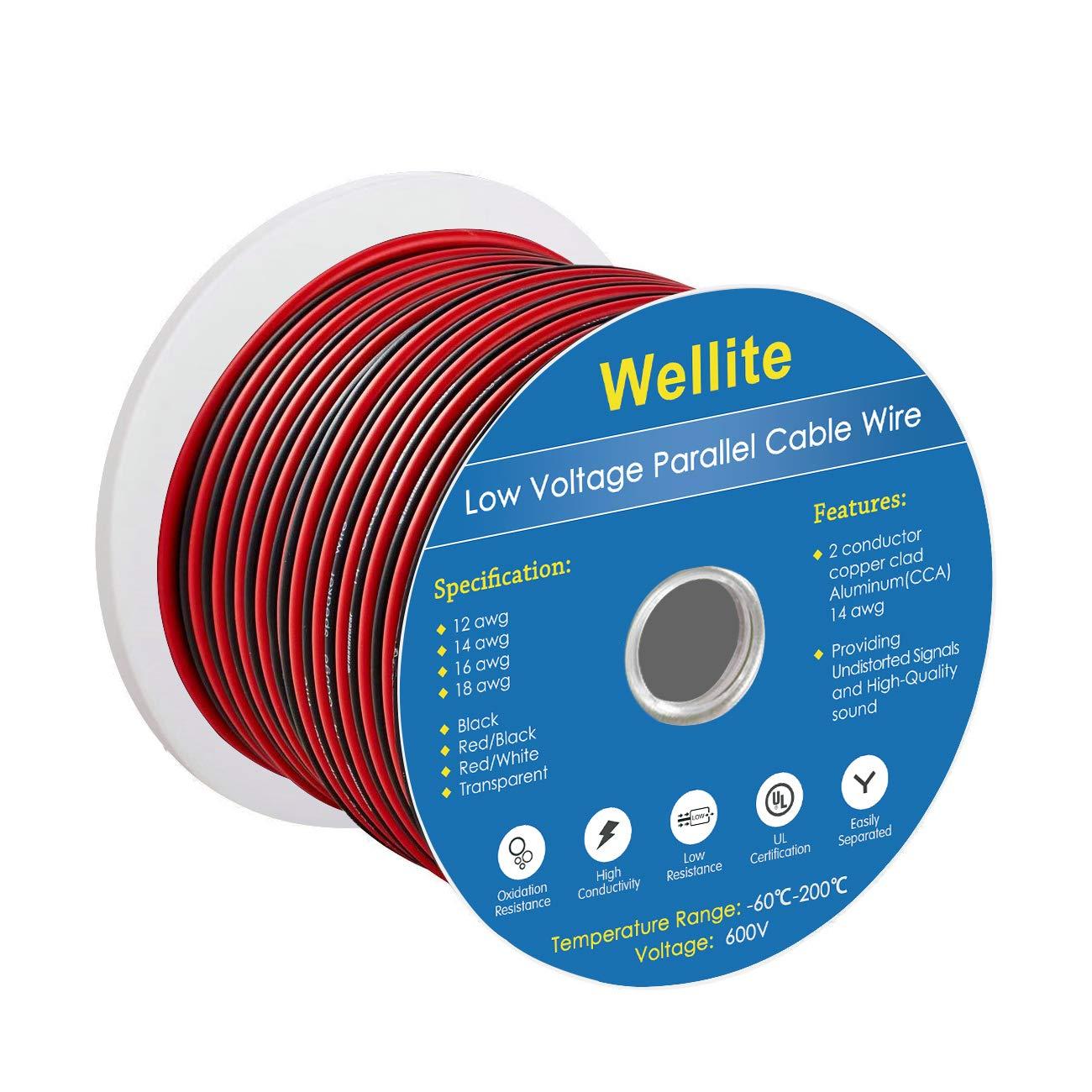 Wellite 66 ft 12 – 2 AWGゲージ電気ワイヤ、低電圧for Landscape照明システム、レッド&ブラック平行ワイヤ   B07CRY3TLC