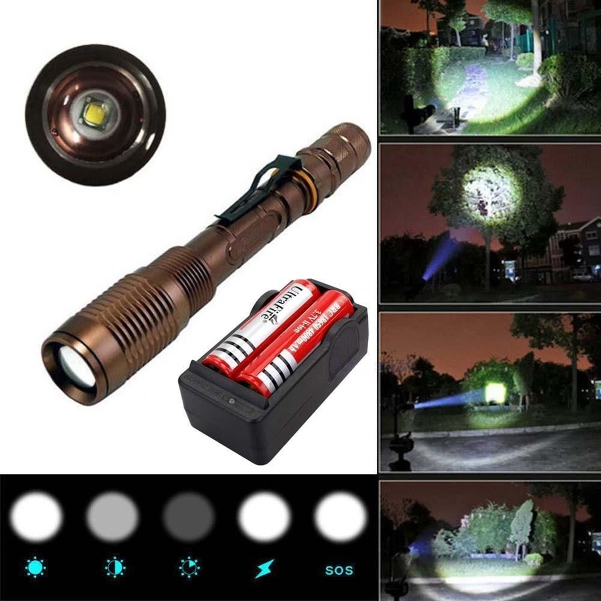 1Pc Reliable Unique LED Flashlight 3000 Lumen 5Mode LEDs Flashlights Torch Bike Night Light Coast Bright Camping Military Police Tactical Light Lamp Color Bronze w/ 18650 Rechargeable Battery Charger