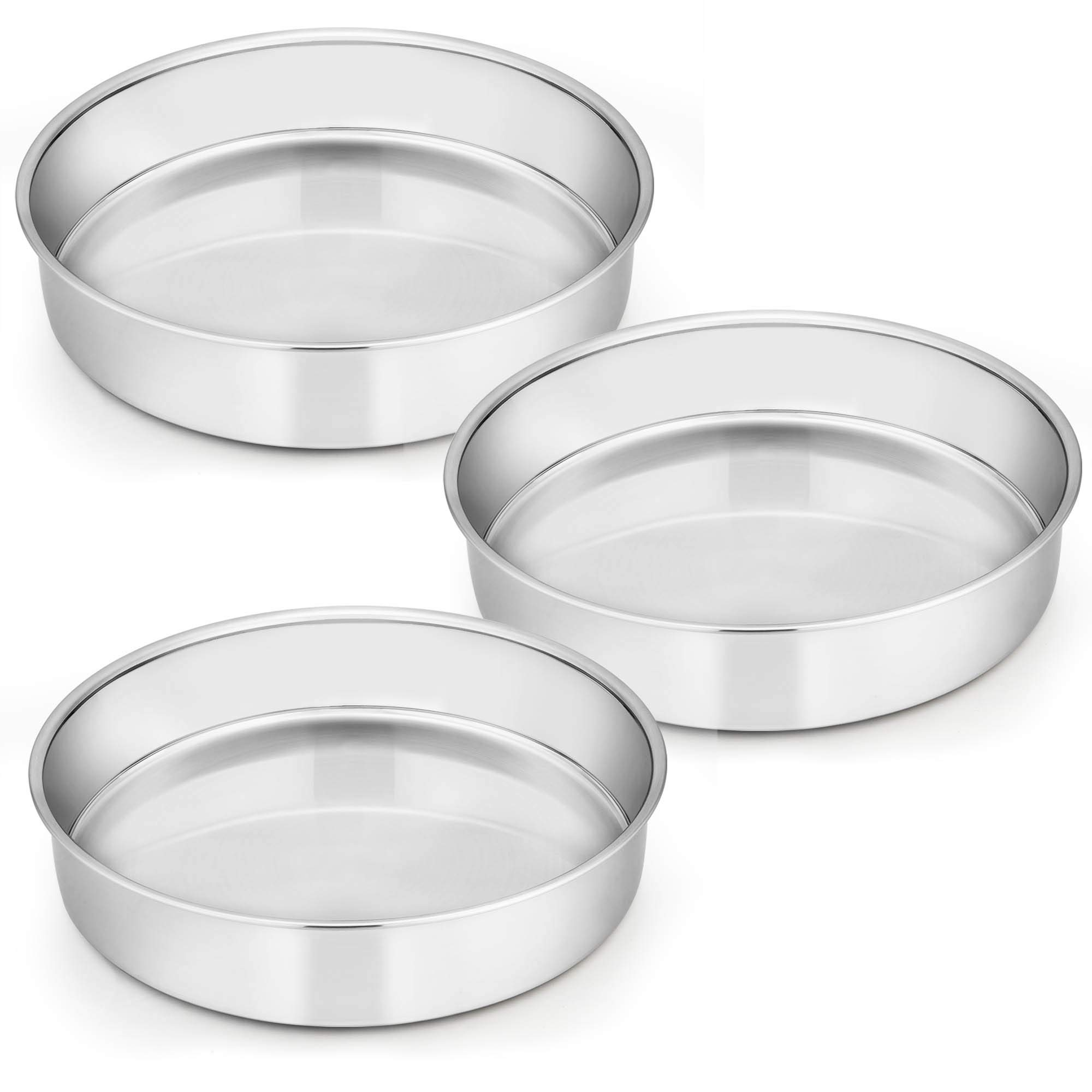 9½ Inch Cake Pan Set of 3, E-far Stainless Steel Round Cake Baking Pans, Non-Toxic & Healthy, Mirror Finish & Dishwasher Safe by E-far