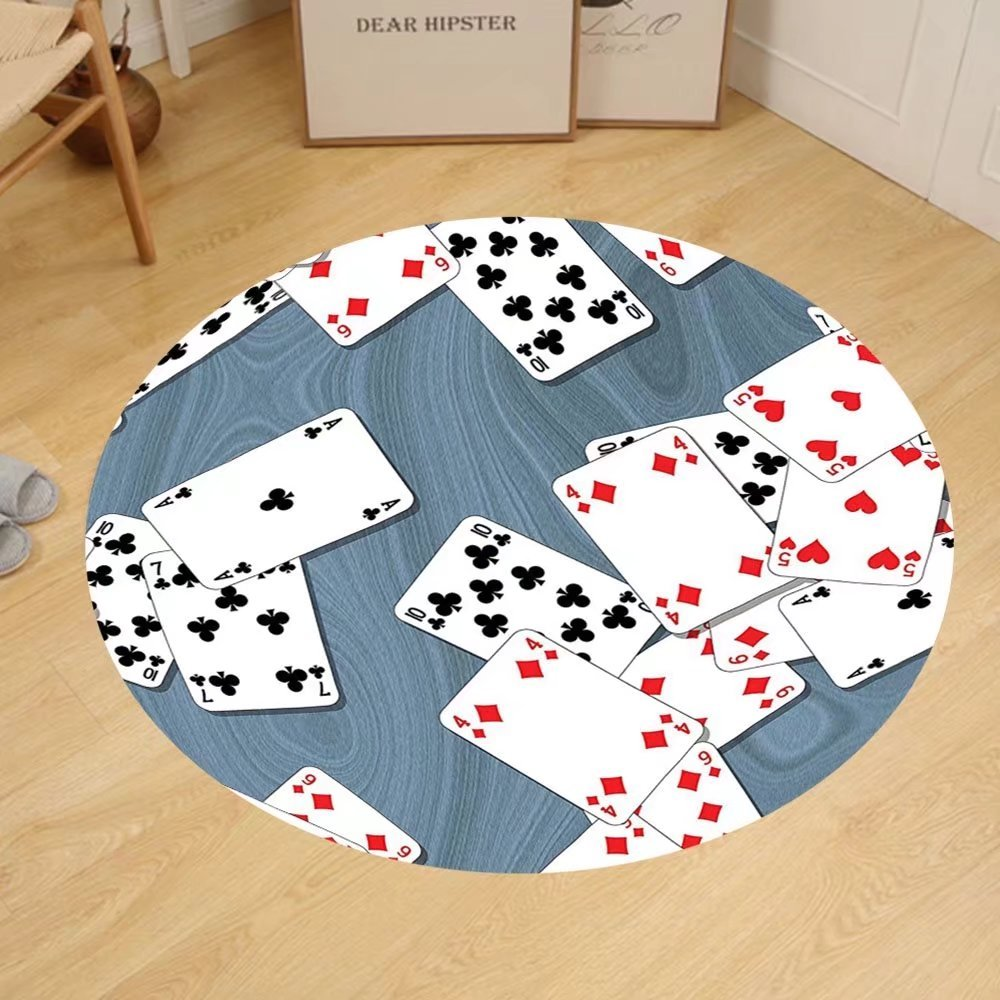 Gzhihine Custom round floor mat Casino Decorations Doodles Style Art Bingo Excitement Checkers King Tambourine Vegas Bedroom Living Room Dorm Decor by Gzhihine