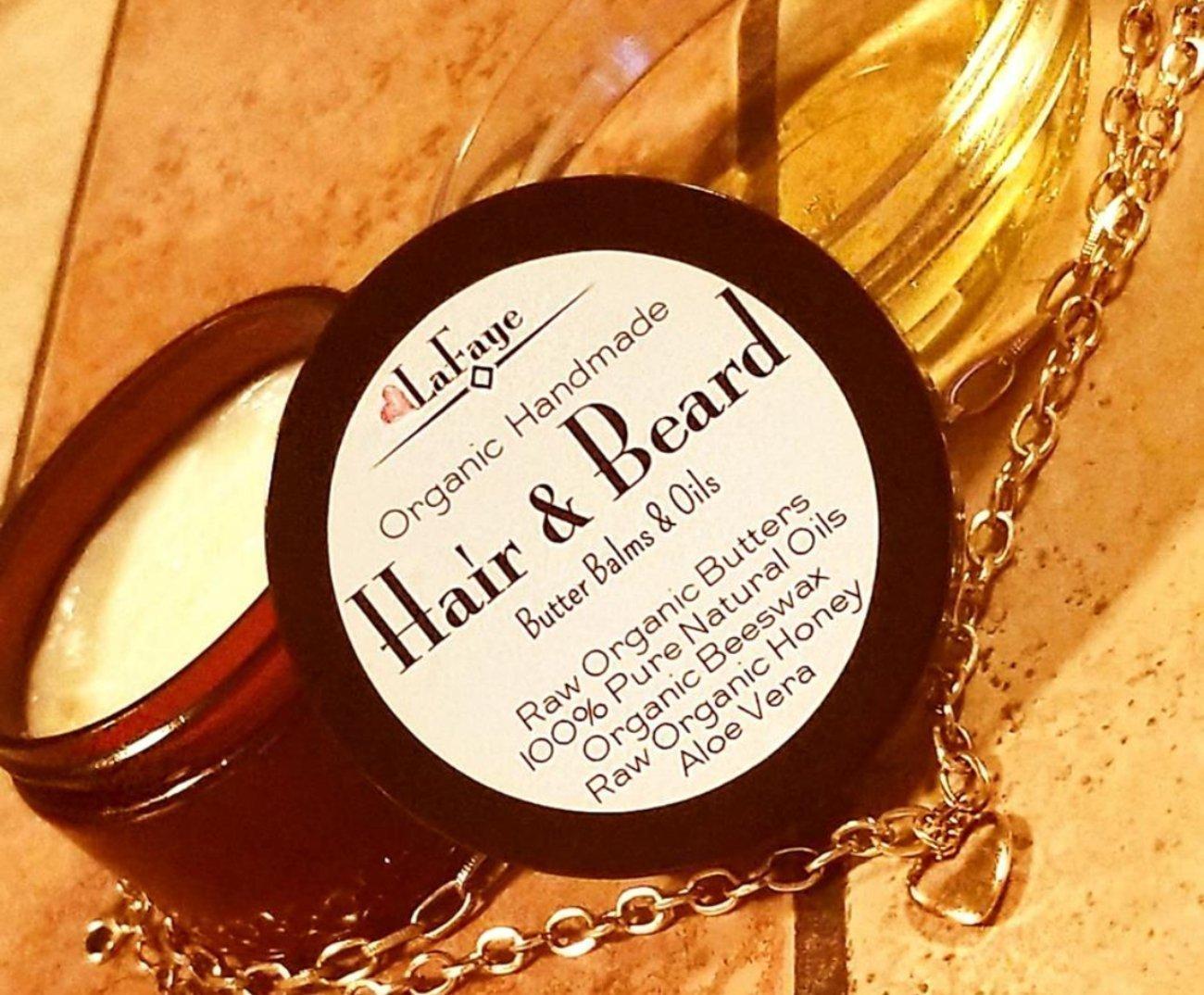 Men's Organic Handmade Hair & Beard Butter Balm and Oil Set w/Batana/Ojon Oil, Emu Oil, BJCO + Aloe Vera   All Natural Men's Haircare
