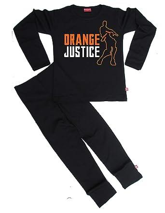 460b4a8f0f Stardust Orange Justice Pyjamas Ethically Made Kids Girls Boys Girls  Childrens PJ Sets (Black)  Amazon.co.uk  Clothing