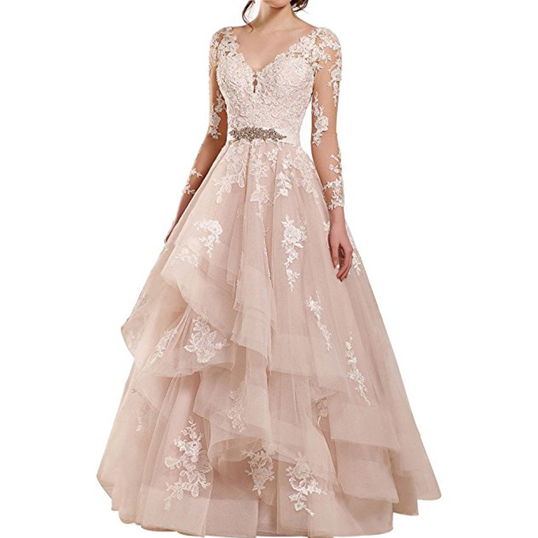 Alanre Appliques Lace Wedding Dress Long Sleeves Ruffle Bride Gowns