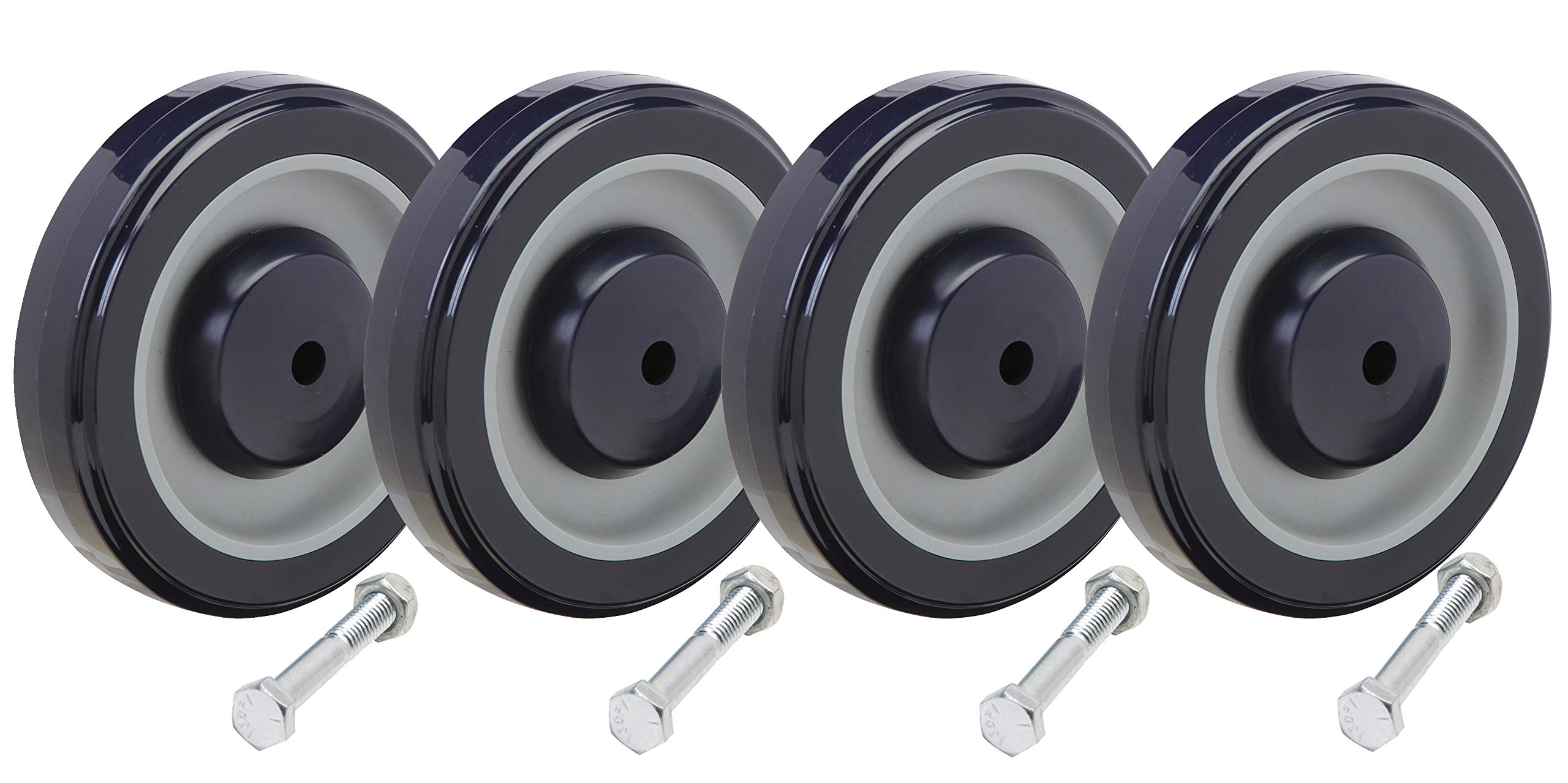 Shopping Cart Wheel Replacement Kit Including 5/16'' Axle Bolts: Set of 4
