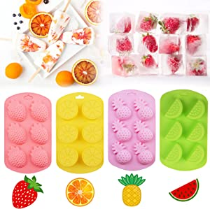 4 Pcs Fruit Shaped Silicone Molds for Chocolate, Gummy Candy Food Molds Chocolate Ice Cube Tray Baking Molds, Summer Fruit Ice Mold Pineapple Orange Watermelon Strawberry Silicone Molds