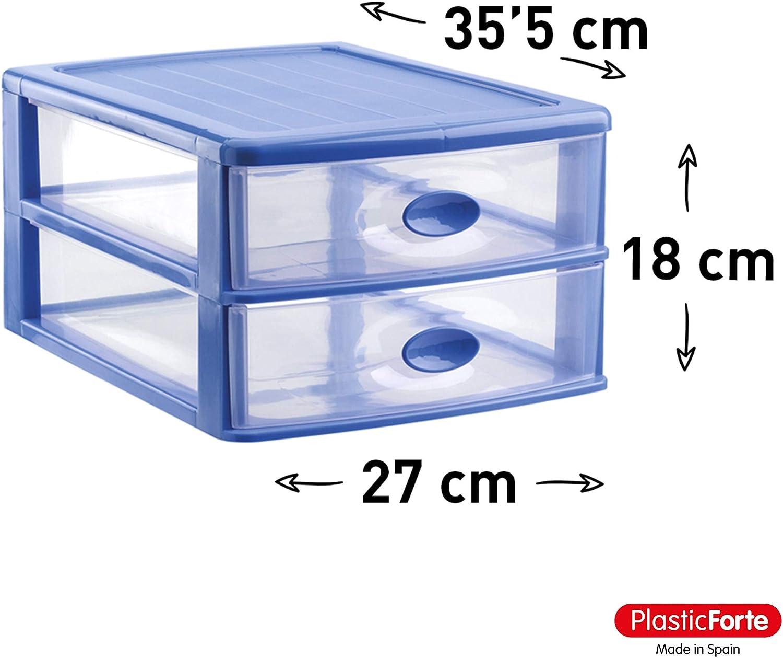 Azul 2 Cajones PLASTIC FORTE Cajonera sobremesa