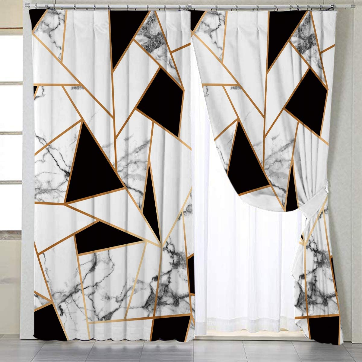 BlessLiving Gold White Curtains for Living, Dining Room and Bedroom Geometric Curtain Marble Elegant Fabric Curtain Window Curtains,1 Panel,42 W x 96 L, Grommet