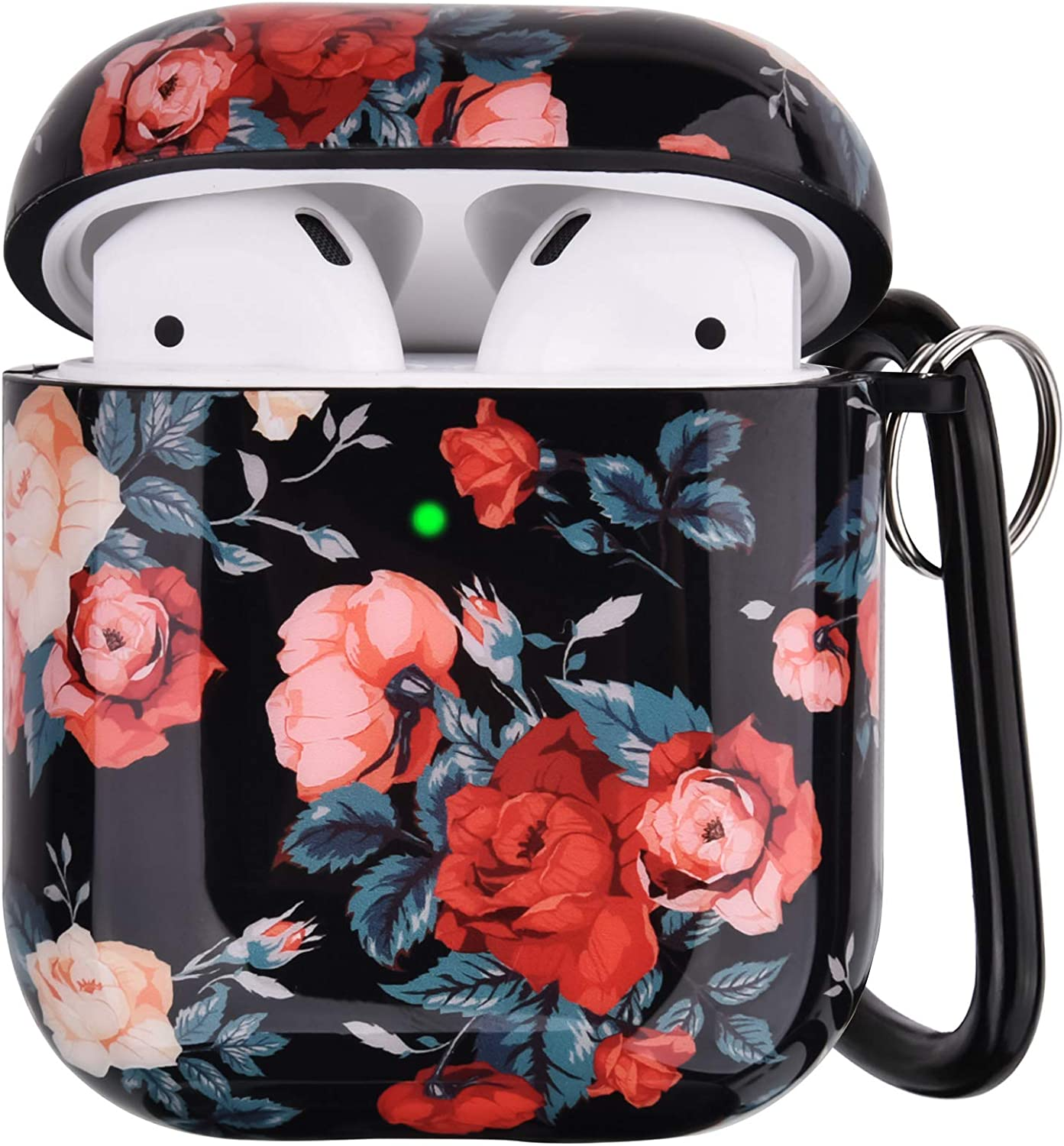 RGBWIND Airpod Case for Women and Girls,Compatible with Apple Air pod Case 2/1,Anti-Slip and Cute Rose Floral Design Cover,Hard Earbuds Accessory with Keychain