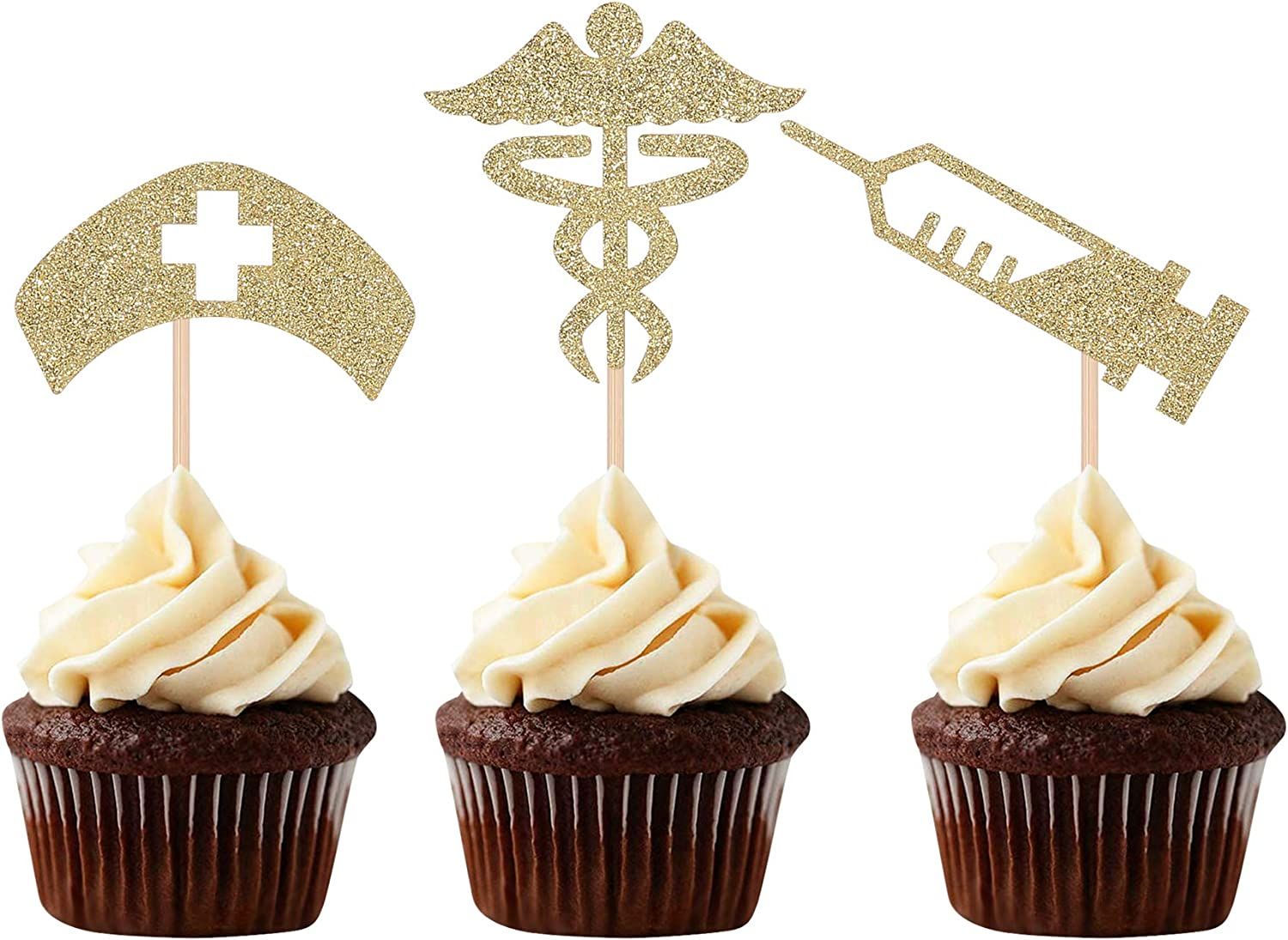 Gold Glitter Nurse Cupcake Toppers Nurse Themed Party Graduation Celebrating Decorations -24 Counts
