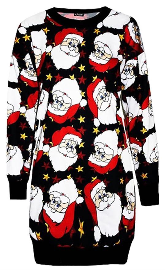 Damen Stern groß Weihnachtsmann Gesicht Weihnachten Baum Sweatshirt Jumper Kleid
