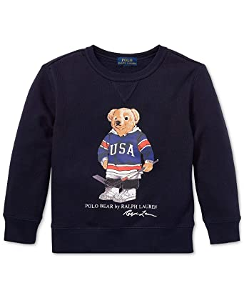 4e673a50e Amazon.com  Ralph Lauren Polo Big Boys Hockey Bear Fleece Sweatshirt ...