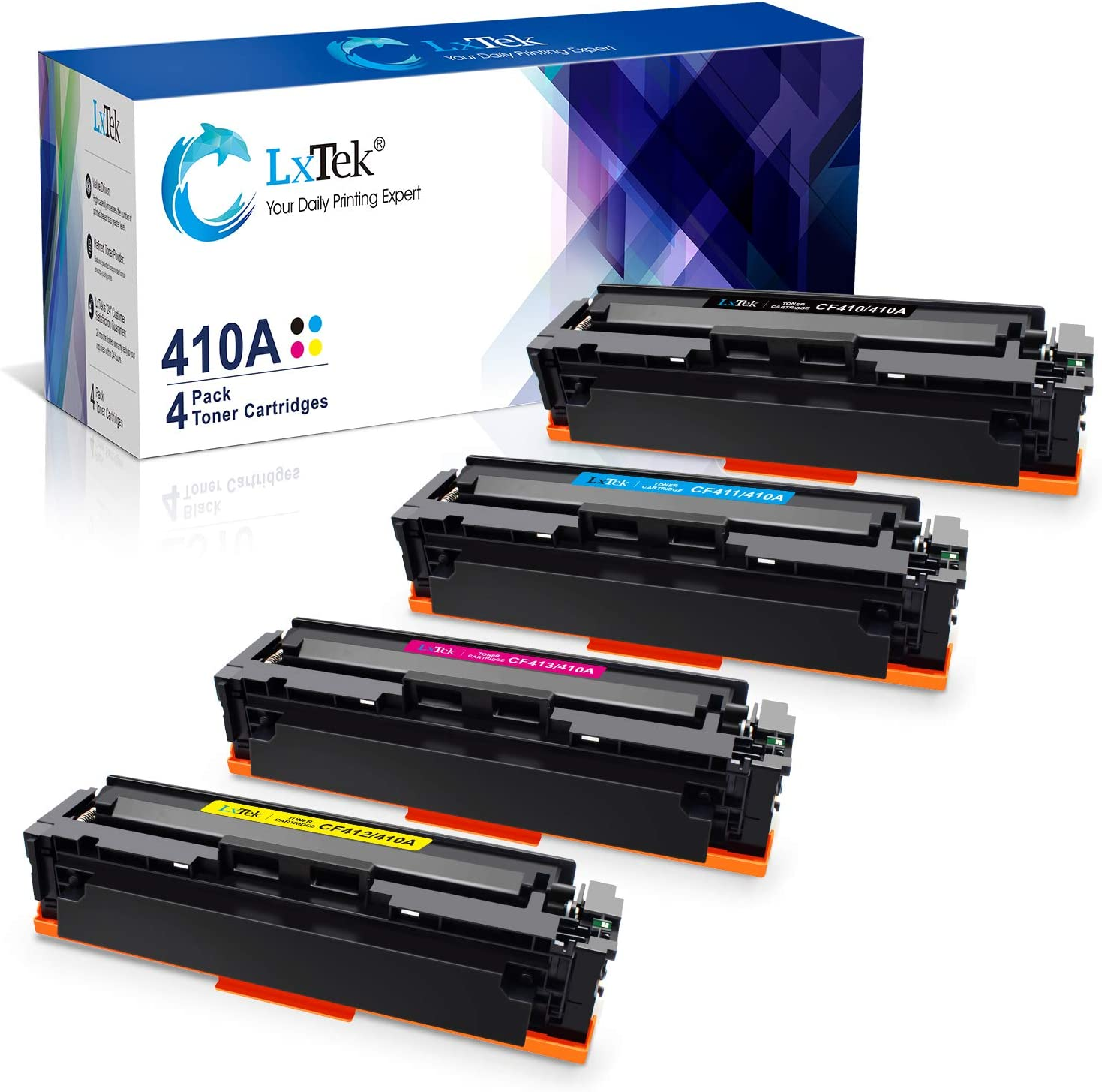 LxTek Compatible Toner Cartridge Replacement for HP 410A-CF410A-to use with Color Laserjet Pro MFP M477fdn-M477fnw-M477fdw-M452dn M452dw M452nw (Black,Cyan,Magenta,Yellow,4-Pack)