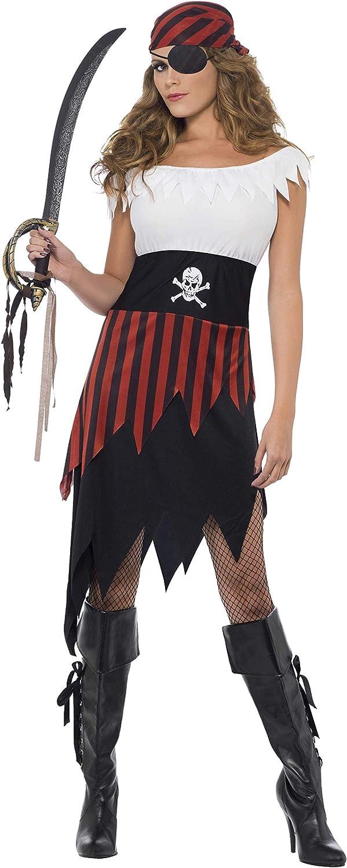 Smiffy'S 30716S Disfraz De Moza Pirata Con Vestido Y Adorno Para La Cabeza, Negro, S - Eu Tamaño 36-38 , color/modelo surtido