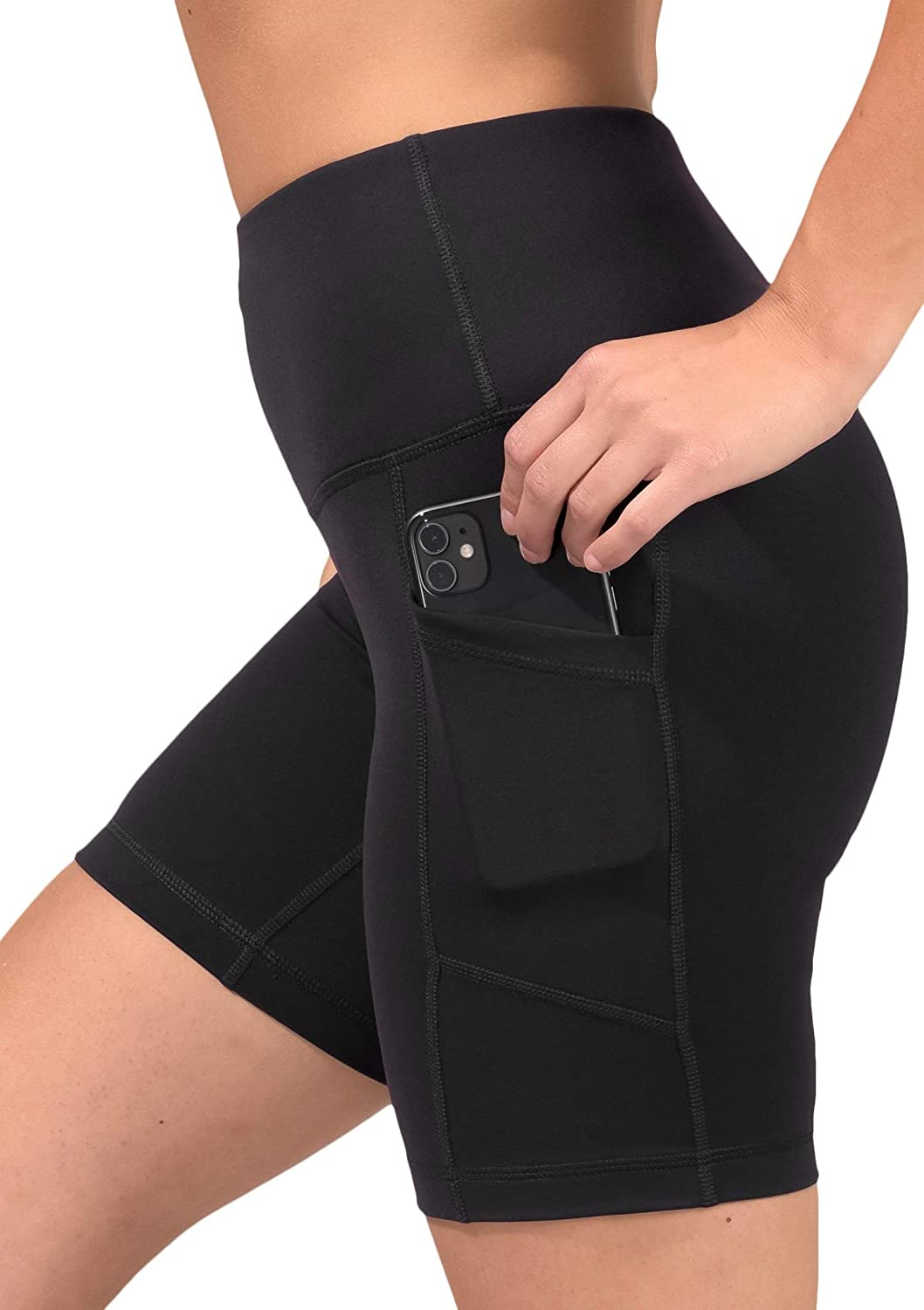 """90 Degree By Reflex - High Waist Power Flex 5"""", 7"""" and 9"""" Yoga Shorts with Side Pockets"""