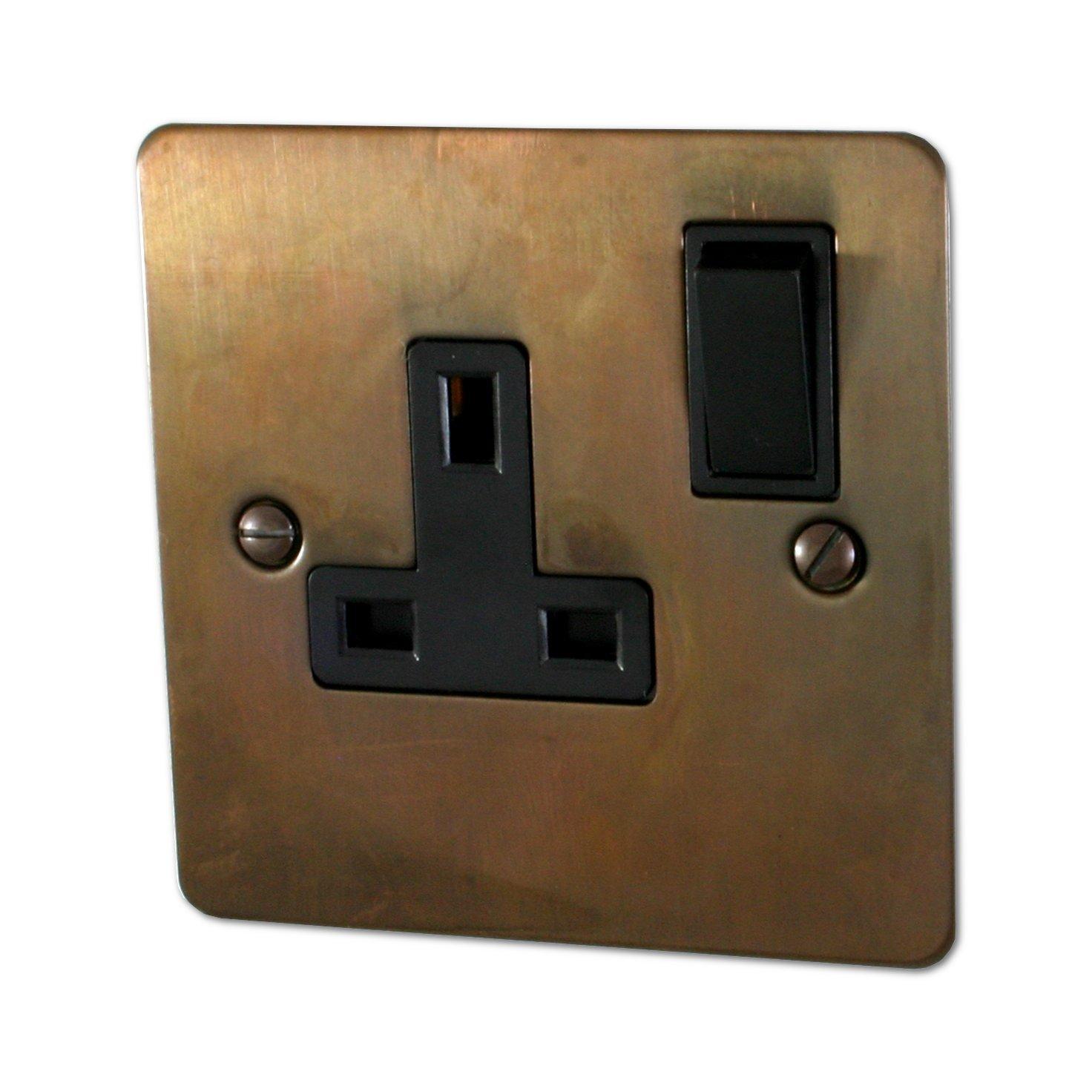 Flat Tarnished Copper Single Socket (Black Switch) - FTC9B