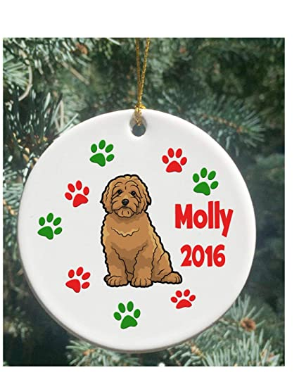 fhdang decor personalized christmas ornaments dog golden doodle christmas ornament 3 inches - Goldendoodle Christmas Decorations