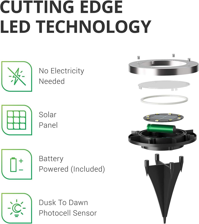 Solar Powered LED Landscape Lighting Cross Spike Stake for Easy in Ground Install RoHS//CE Sunco Lighting 10 Pack Solar Path Lights Dusk-to-Dawn 7000K Diamond White