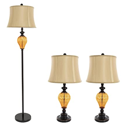 Charmant Table Lamps And Floor Lamp Set Of 3, Amber Glass (3 LED Bulbs Included