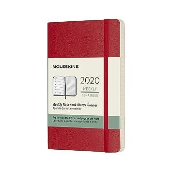 Moleskine - Agenda semanal de 12 meses 2020, tapa blanda y goma elástica, color rojo escarlata, tamaño pequeño 9 x 14 cm, 144 páginas