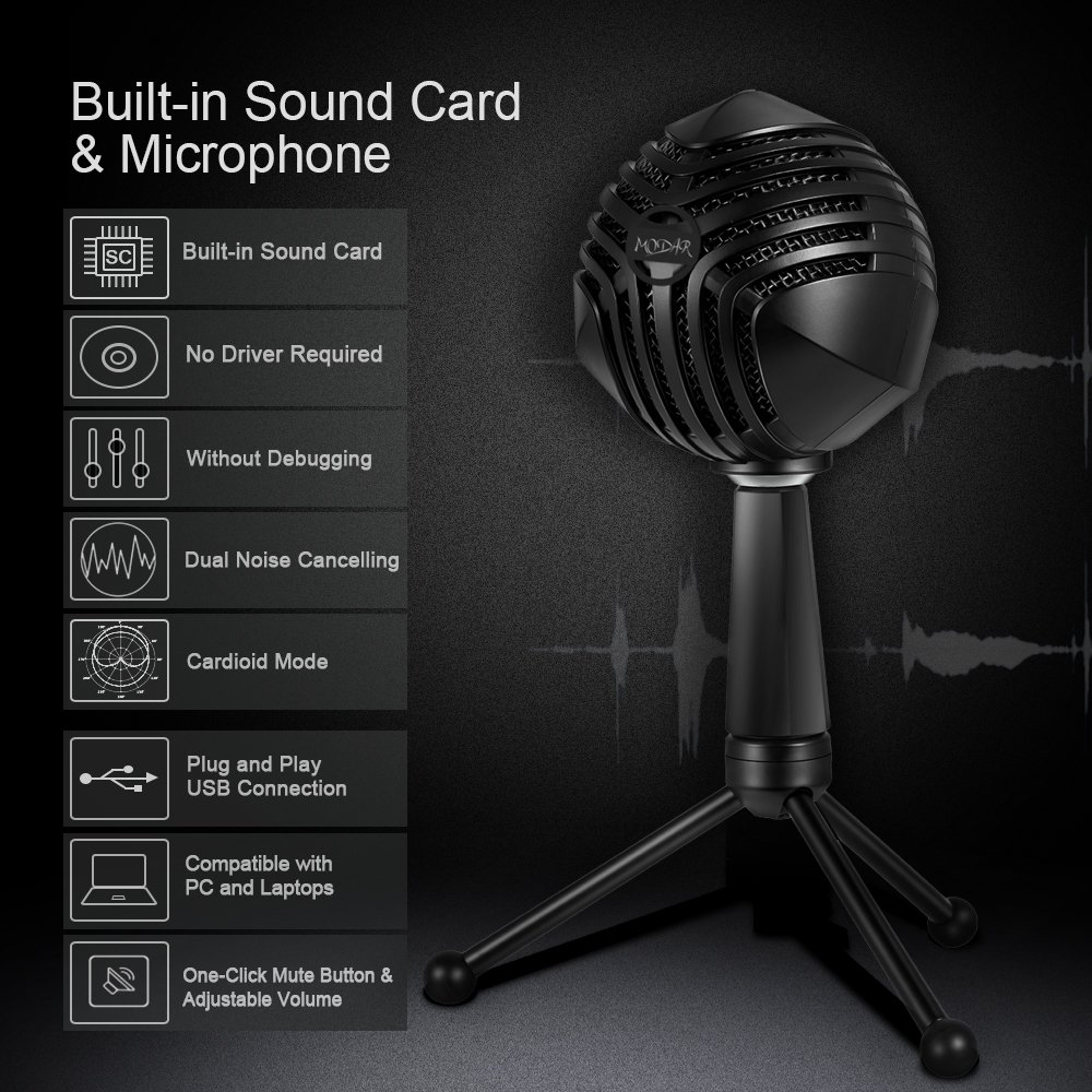 MODAR USB Cardioid Microphone Stand, Studio Broadcasting Recording Condenser Mic Desktop Professional with LED Power Indicatior, Volume Adjuster, Mute Button, USB Port and Headphone Jack by MODAR (Image #3)