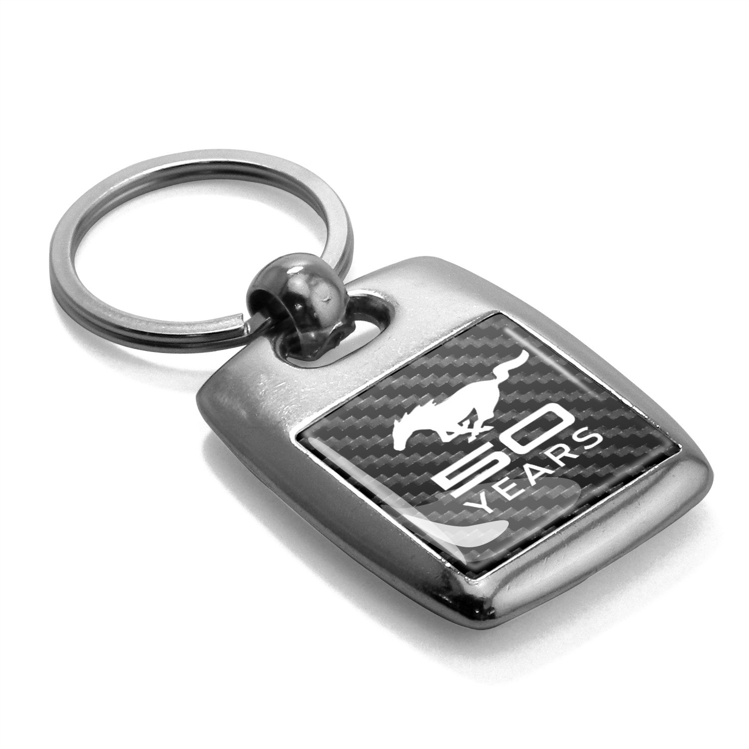 Ford Mustang 50 Years in Full Color with Carbon Fiber Backing Brush Silver Metal Key Chain