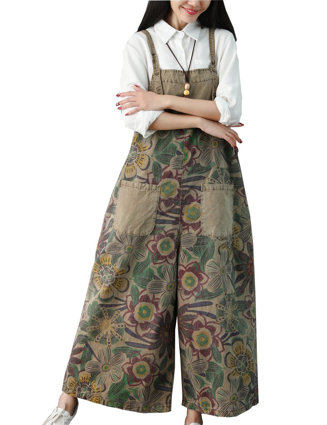7d1bb8f60805 Flygo Women's Casual Loose Floral Denim Wide Leg Overalls Jumpsuits Rompers  Cropped Jeans Bib Pants