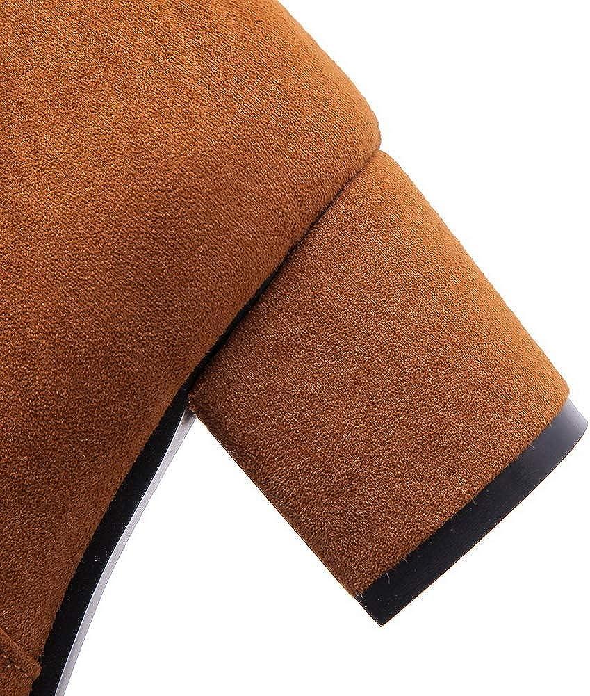 AN Womens Chunky Heels Zipper Imitated Suede Boots DKU02415