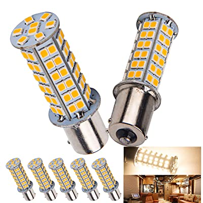 5 x Super Bright 1141 Interior Light Bulbs BA15S 1156 80 SMD LED 1003 900 Lumens RV Camper Trailer Turn Signal Backup Reverse,Warm White: Automotive