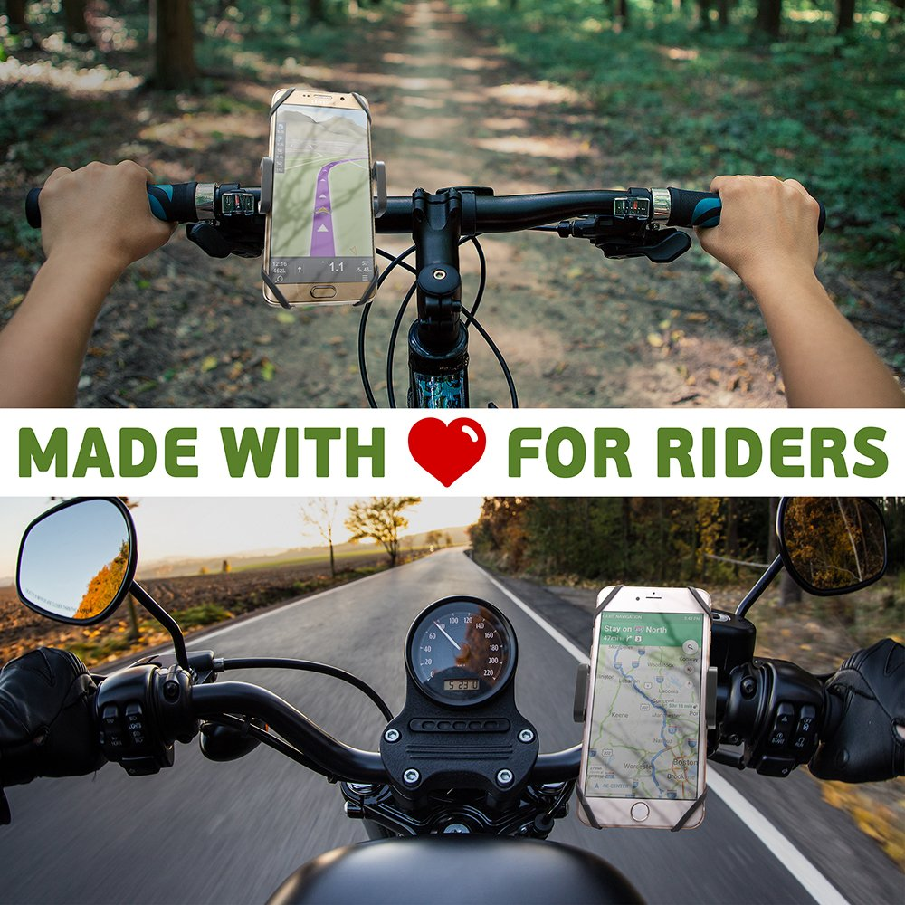 Bike & Motorcycle Phone Mount - For iPhone 8 (X, 7, 5, 6 Plus), Samsung Galaxy or any Cell Phone - Universal Handlebar Holder for ATV, Bicycle and Motorbike. +100 to Safeness & Comfort by CAW.CAR Accessories (Image #6)