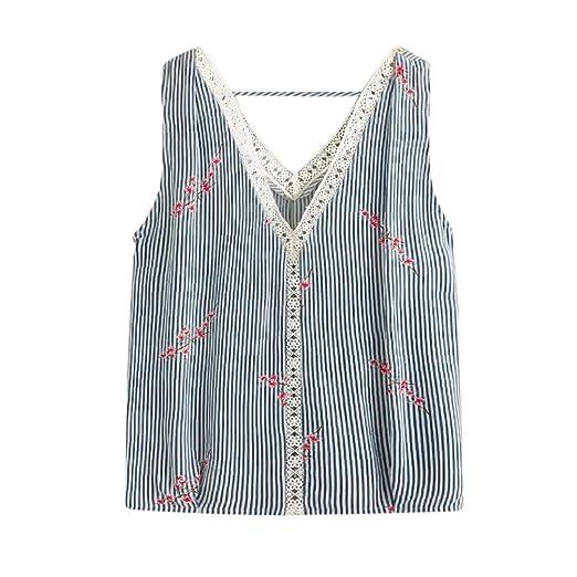 47ae927617 Amazon.com  NREALY Women Summer Stripe Printing T-Shirt Sleeveless Vest Tank  Tops Blouse Tee  Clothing