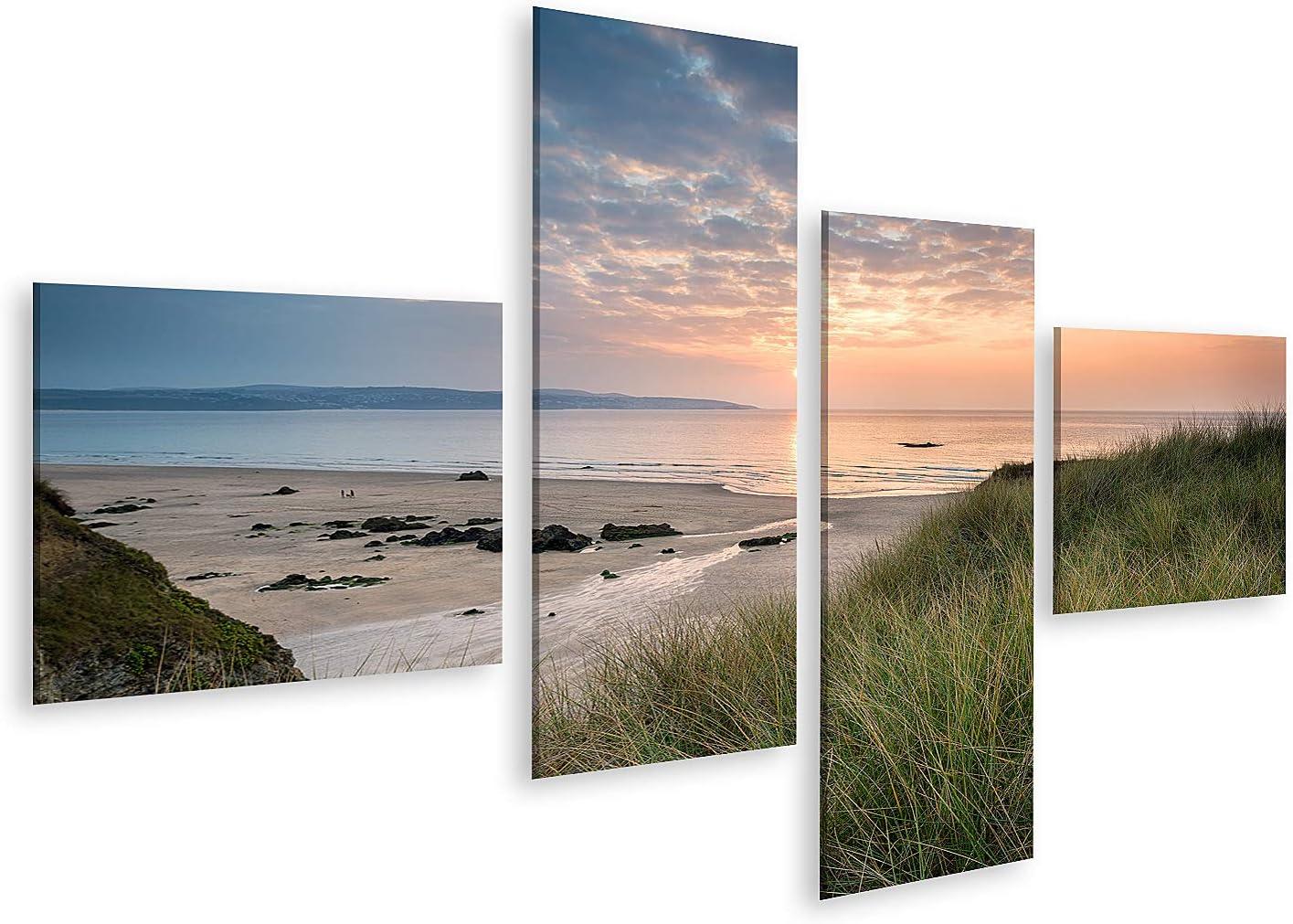 islandburner Cuadro en Lienzo Atardecer en la Playa de Hayle en Cornwall Desde Las Dunas de Arena de Gwithian Towans Cuadros Modernos Decoracion Impresión Salon