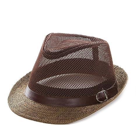 dde1e05376dae Amazon.com   ALWLj Straw Panama Hat Men Summer Beach Sun Visor Cap Male  Mesh Jazz Cap Man Sunhat Sombrero Panama Chapeau Paille Homme   Sports    Outdoors