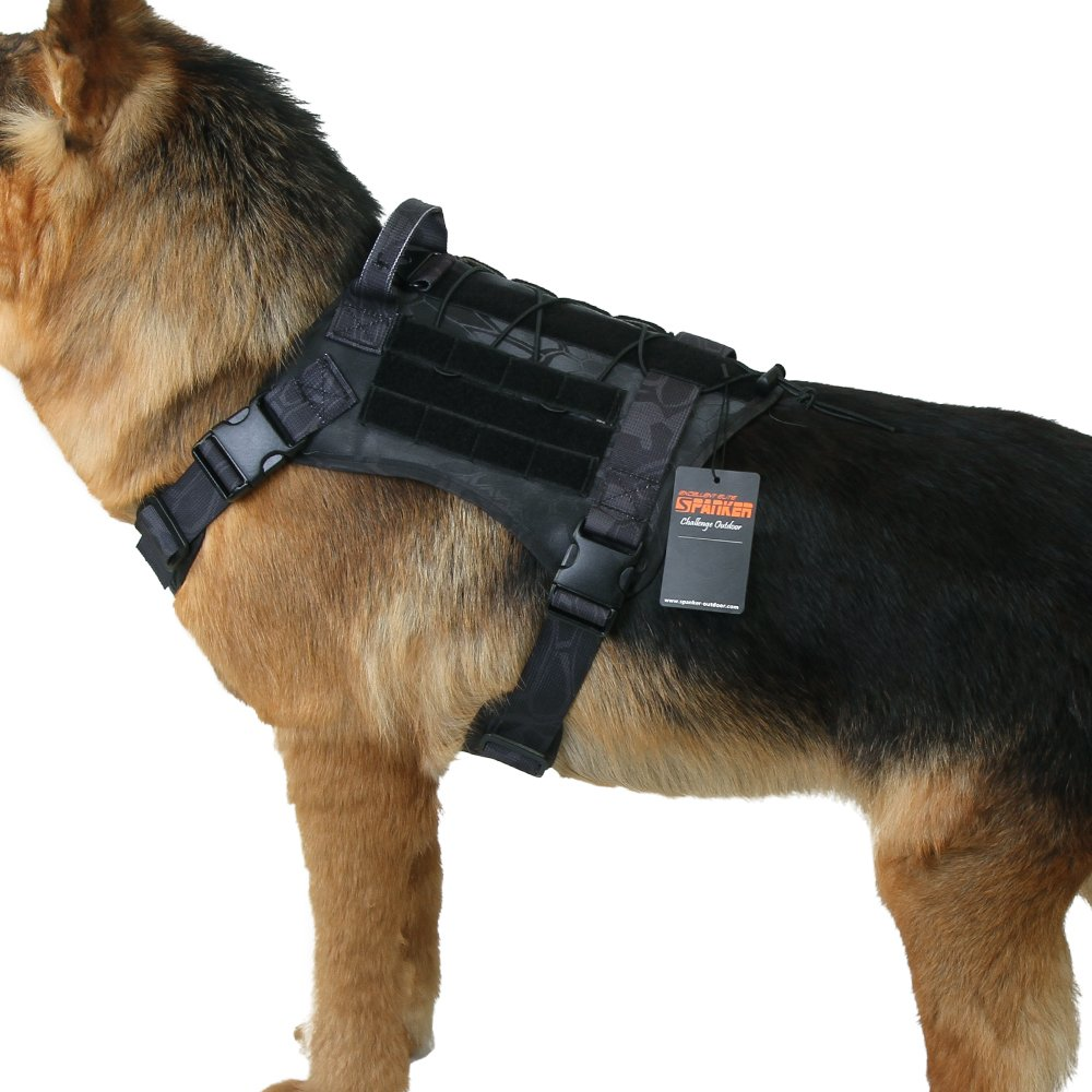 TYP M TYP M Excellent Elite Spanker Tactical Service Dog Vest Training Hunting Molle Nylon Water-resistan Military Patrol Adjustable K9 Dog Harness with Handle(TYP-M)