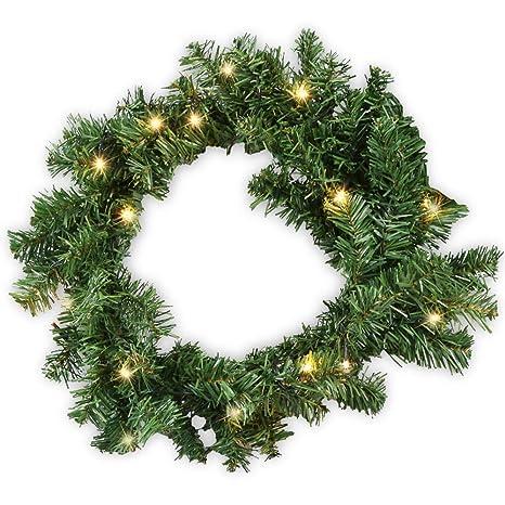 Hengda Corona navideña con Luces 100 Luces LED Cálida luz Blanca iluminación Guirnalda de Navidad Artificial