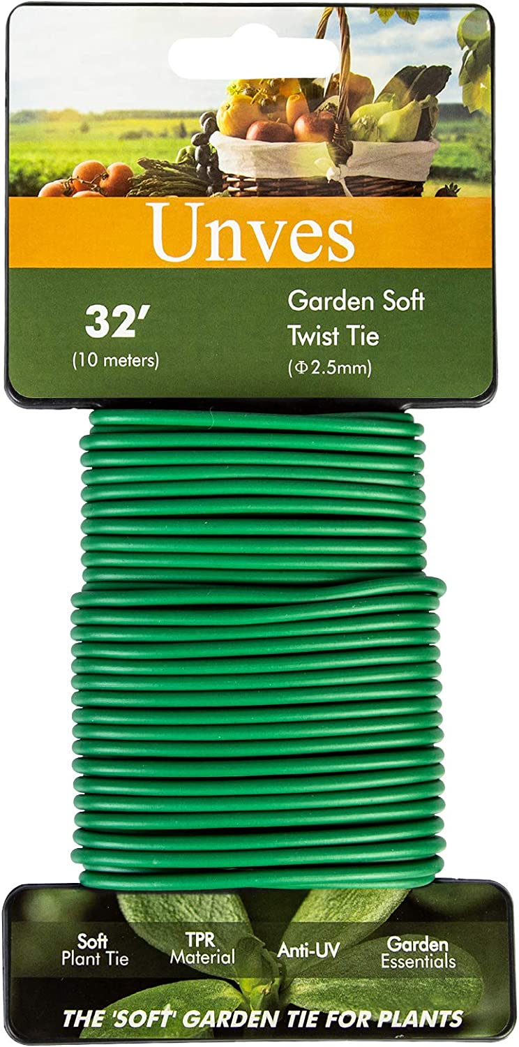 Unves Green Plant Ties, Reusable Garden Ties for Plants - Soft Twist Tie for Support Vines Stems & Stalks Garden Ties for Potted Plants Tomatoes Roses Organizing(32.8')