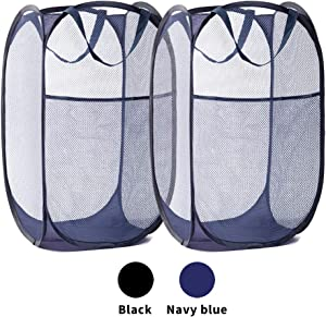 Portable Mesh Laundry Basket, 2 Pieces of Premium Pop up Laundry Hampers with Thickened Mesh,Side Pocket,Wide Opening, and Reinforced Handles, Easy to fold for storage and easy to open, (navy blue)