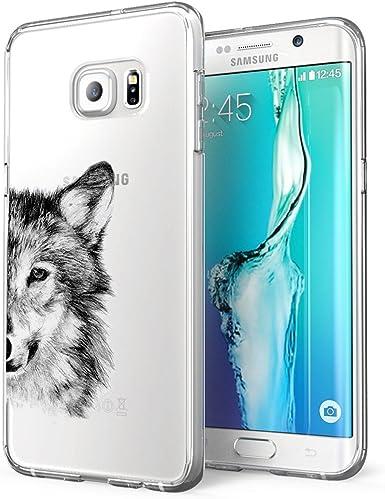 Coque Galaxy S6 Edge transparente en silicone Panda Loup Cactus Motif animal ultra fin Antichoc No-Slip Anti-rayures souple pour Samsung Galaxy S6 ...