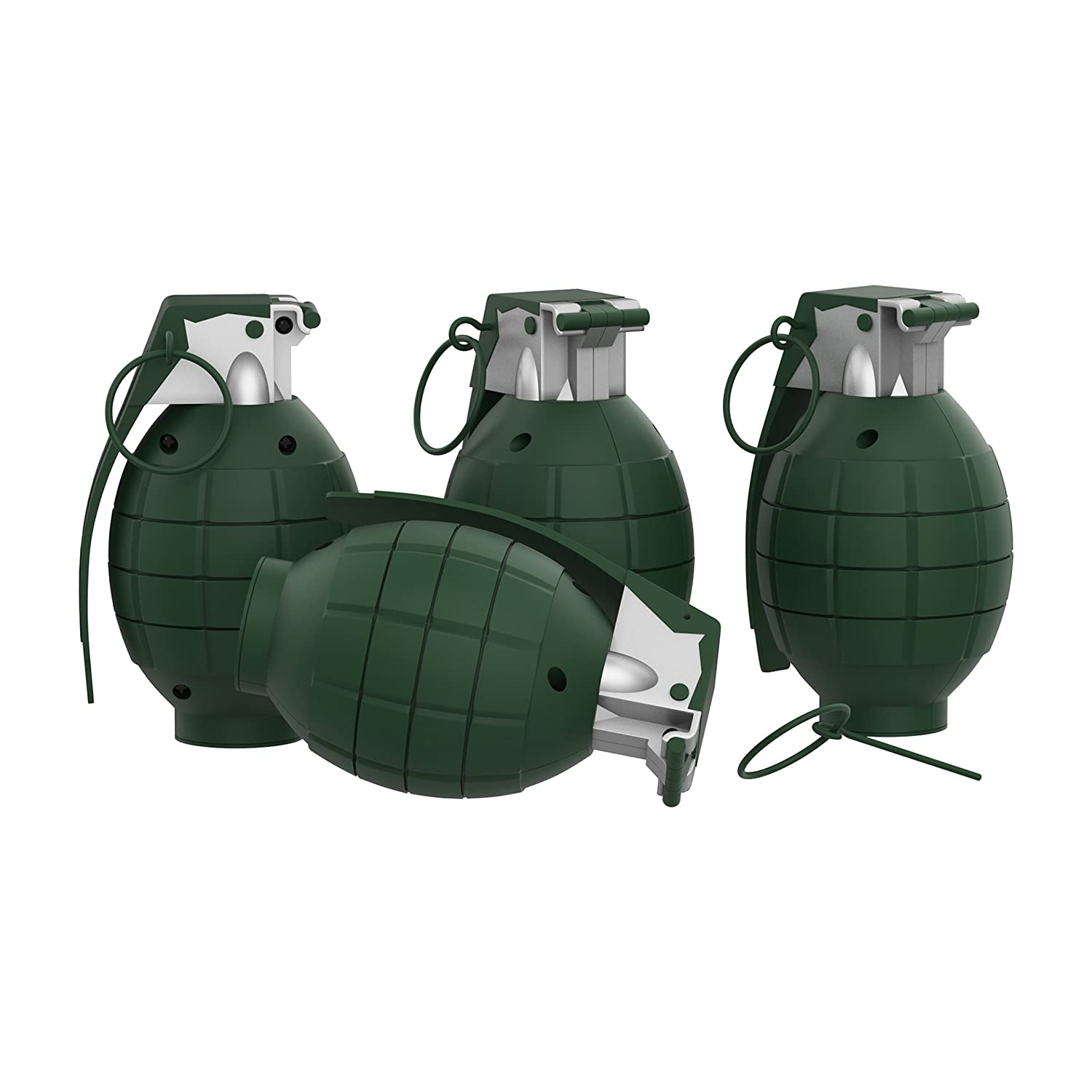 Toy Grenade Set of 4 Trigger, Pull Pin, Realistic Explosion Sound Effects-Military Pretend Play Accessories Kids (Army Green) Trademark 80-DA20475