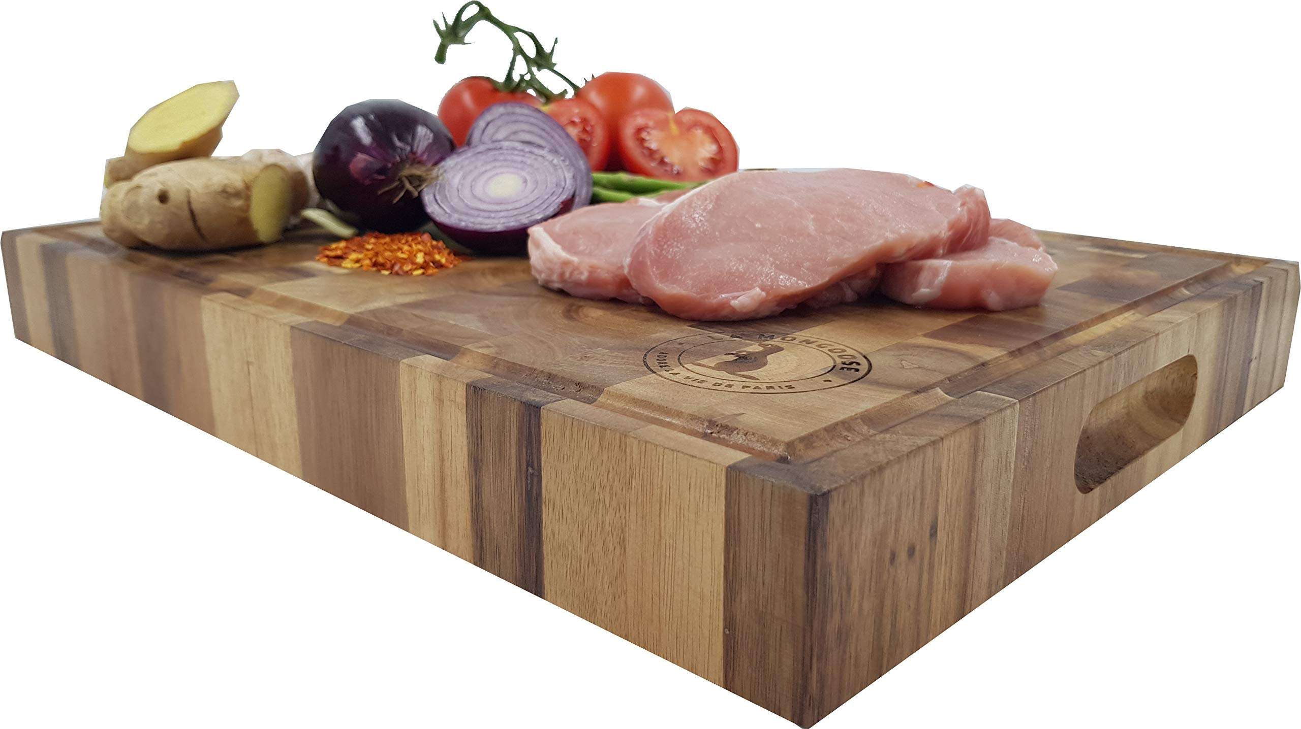 Extra Large Thick Acacia Wood Cutting Board 17 x 13 x 2 inches by La Mongoose. Juice Groove and Hand Grips Reversible Anti Microbial Solid Sturdy End Grain Butchers Block Chopping Serving Tray Platter by La Mongoose (Image #9)