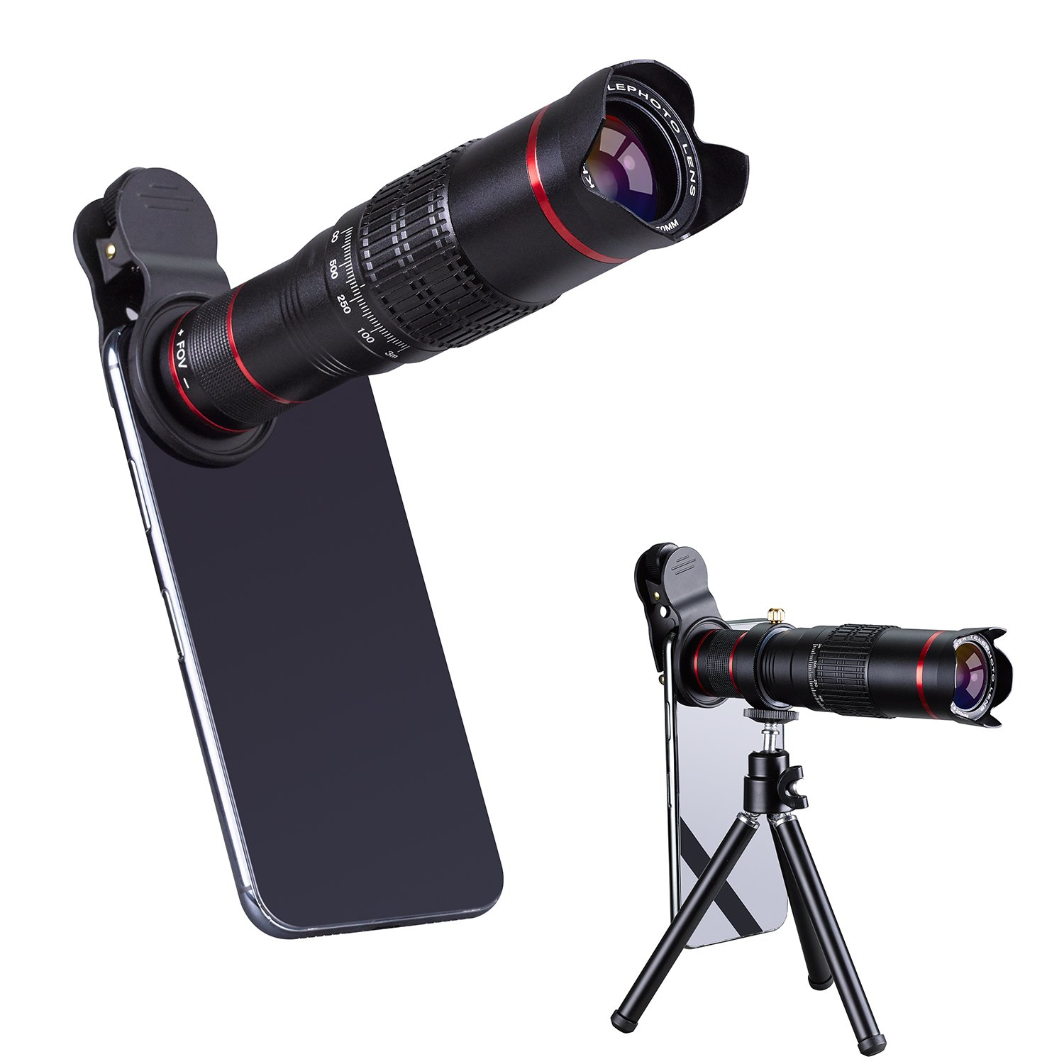 HXGD Mobile Camera Lens 22x Phone Camera Telephoto Lens, Double Regulation Phone Lens Attchment with Tripod for iPhoneX/8/7/6,Samsung.Huawei Most Smartphone by HXGD