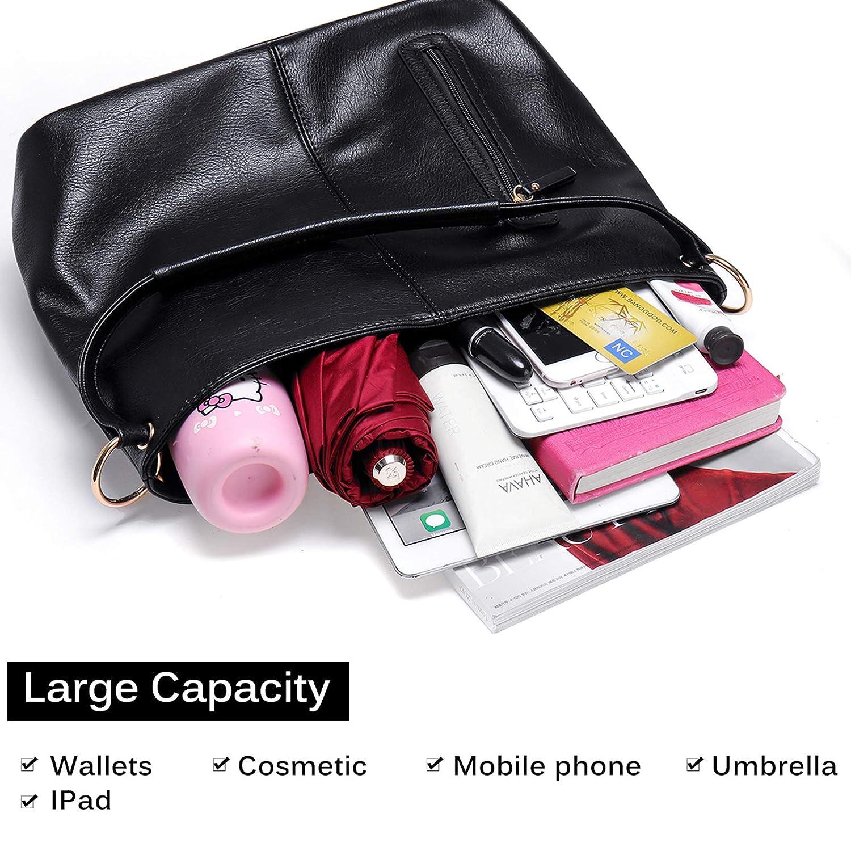 JOSEKO PU-läder dragkedja handväska för kvinnor, elegant axelväska stor kapacitet axelväska multifunktionell ryggsäck svart